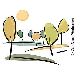 Autumn trees vector illustration