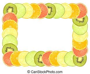 薄く切られる, 柑橘類, フレーム, フルーツ