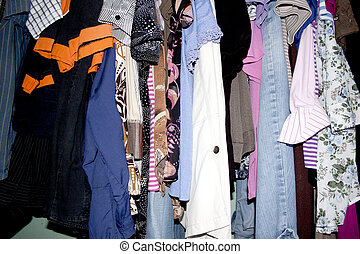 Second Hand Clothing Wardrobe - A closeup of an assortment...