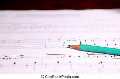 Pencil on musical score - Pencil on a page of music