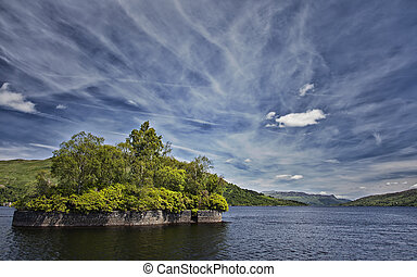 Loch Katrine landscape - Fresh water lake in the scottish...