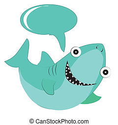 happy shark - a happy blue shark with big teeths and a...