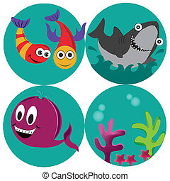 four icons of the sea - four beautiful icons of what sealife...