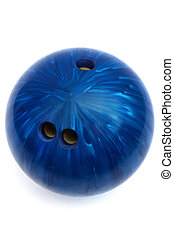 blue ball game in bowling on a white background