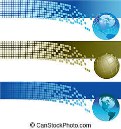 Website banner backgrounds Three vector corporate technology...