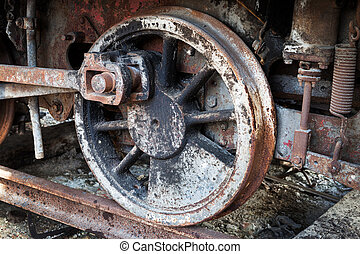 wheels of old steam locomotive