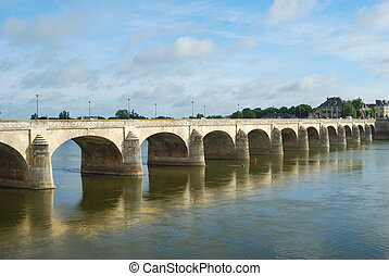 bridge on Loire river at saumur - arched bridge over the...