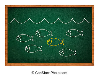 Stand out from the crowd, simple drawing of a fish on a...