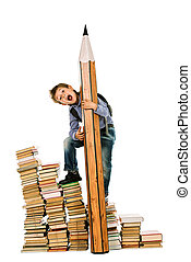 many books - A boy climbing the stairs of books with a huge...