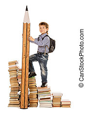 schoolbag - A boy climbing the stairs of books with a huge...