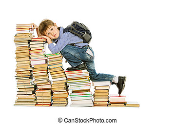 weariness - A boy climbing the stairs of books. Education....