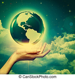Whole world in your hands, environmental backgrounds