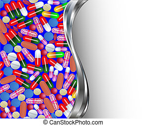 medical background with pills and capsules pills