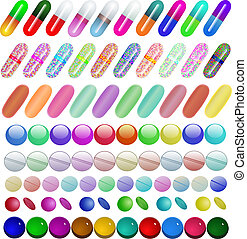 set of medical pill capsule vitamins - illustration set of...