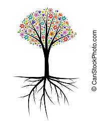 Tree illustration with multicolored flowers