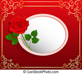 background card with red rose and space for text -...