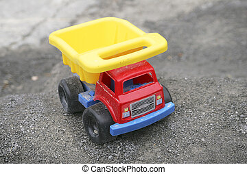 toy truck - one red blue and yellow young child\'s toy truck...