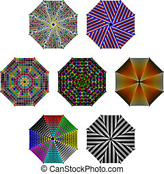 Umbrellas with different patterns