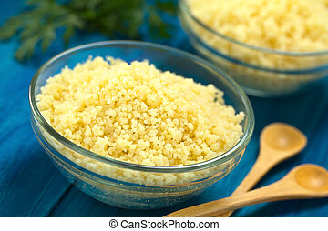 Cooked Couscous in Glass Bowl - Prepared couscous in glass...