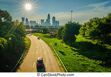 sun setting over charlotte north carolina a major metropolitan city in the south