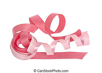 Pink and red paper horizontal ribbon on the white isolated...