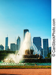 Chicago downtown cityscape with Buckingham Fountain at Grant...