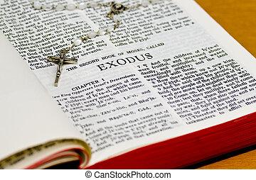 rosário, bíblia, página, -, êxodo