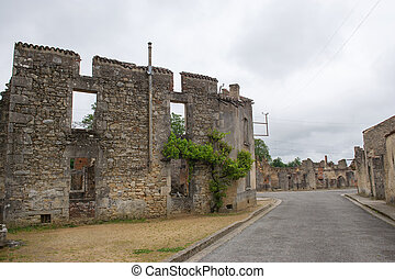 Oradour sur Glane - Destroyed Oradour sur Glane in the...