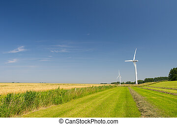 Wind Turbines in agriculture landscape in Holland