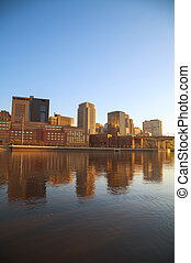 Downtown of St Paul, MN and Mississippi river