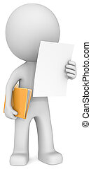 Reading document - The Dude reading document adn holding...