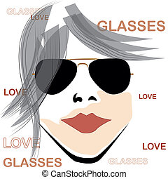 retro woman with glasses - beautiful retro woman with black...