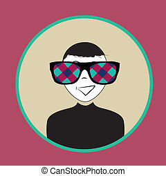 man with weird glasses - a happy man with big colorful...