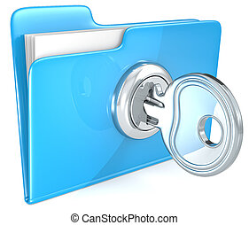 Secure files. - Blue Folder with Key.