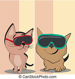 cat with glasses - two beautiful cats with red and green...