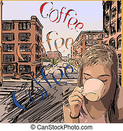 retro design coffee poster with girl drinking town mine...