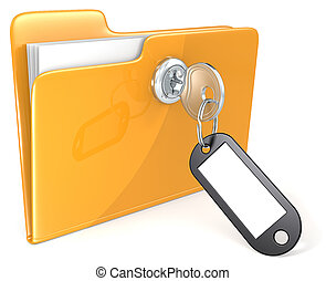 Secure files. - Folder with Key, Keyring and Label. Copy...