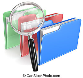 Search. - Magnifying Glass over 3 folders. Blue, red, and...