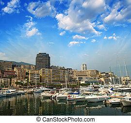 Monaco Montecarlo cityscape, principality harbor view....