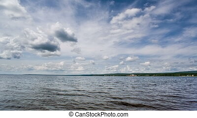 Siberian lake waves and blue sky Shot in RAW, wide dynamic...