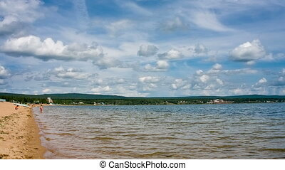 Siberian lake shoreline with waves Shot in RAW, wide dynamic...