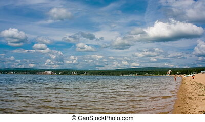 Siberian lake shoreline timelapse with waves Shot in RAW,...