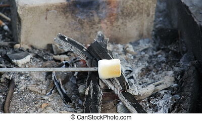 Marshmallow roasted in campfire and getting bronzed