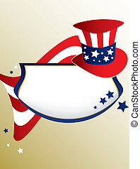 American patriotic banner on a tan background