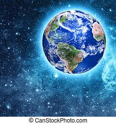azul, planeta, bonito, espaço