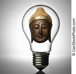 Mask of Buddha in a light