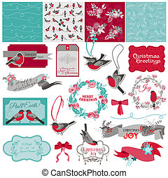 Scrapbook Design Element - Christmas Birds Theme - in vector