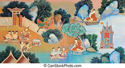 Traditional Thai mural painting of the Life of Buddha on...