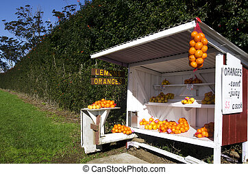 Honor store farm stand with fresh lemons and oranges for...