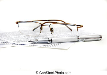 glasses, pen and documents over white